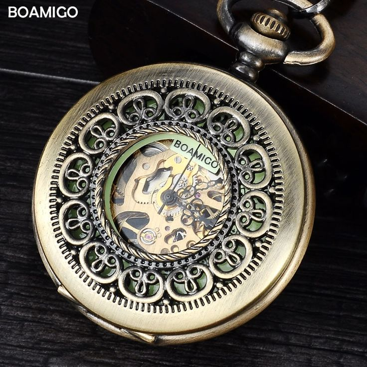 12.99$  Buy here - http://alidsp.shopchina.info/1/go.php?t=32788870260 - FOB men pocket watches antique mechanical watches BOAMIGO skeleton roman number watches copper design gift clock reloj hombre  #buymethat