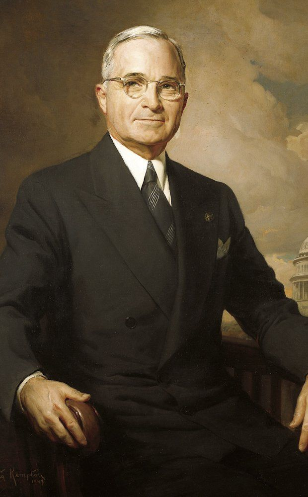 President Harry S. Truman (1945-1953) became President upon the death of Franklin Roosevelt.
