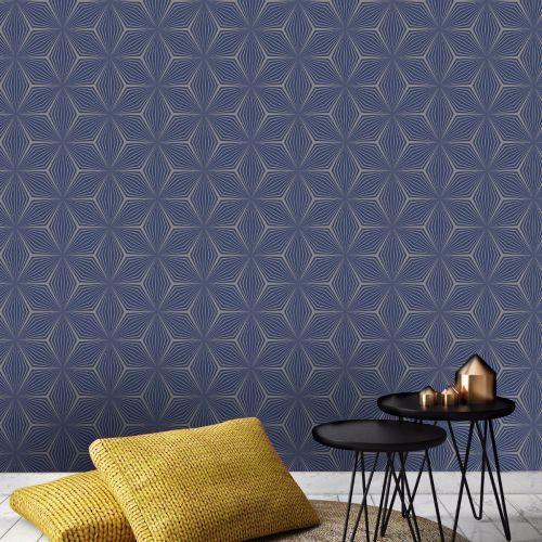 902903 Arthouse Web Geometric Blue and Gold