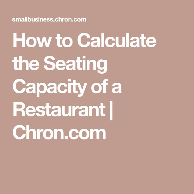 How to Calculate the Seating Capacity of a Restaurant | Chron.com