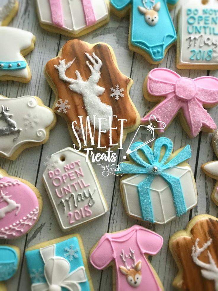 Deer Gender Reveal Cookies Christmas Gender Reveal Party #genderrevealparty