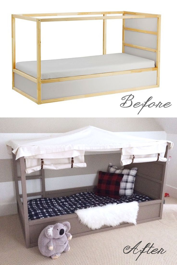 Check out this IKEA Kura Bed Hack - Boys Canopy Bed.