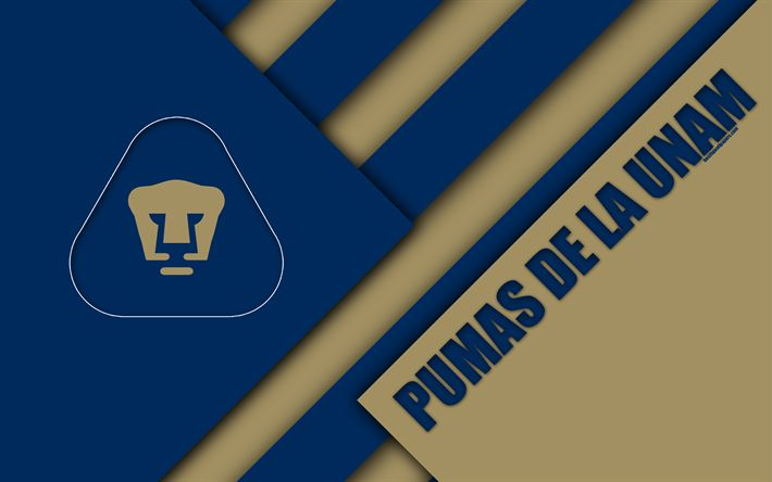 Download wallpapers Pumas de la UNAM, Club Universidad Nacional, 4K, Mexican Football Club, material design, logo, blue brown abstraction, Mexico City, Mexico, Primera Division, Liga MX, Pumas UNAM