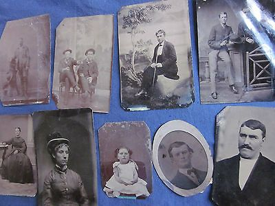 9 Assorted Tintypes Mostly 1/6 Plate Various Subjects Good to Very Good #112208