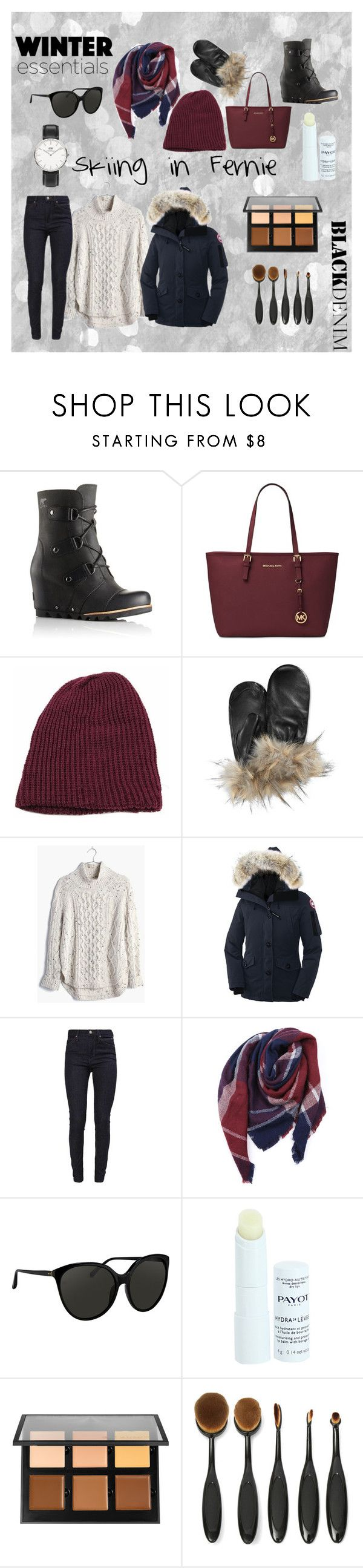 """""""Winter Essentials for Skiing in Fernie B.C"""" by aelizad16 ❤ liked on Polyvore featuring SOREL, Michael Kors, Charter Club, Madewell, Canada Goose, Calvin Klein, Everest, Payot, Anastasia Beverly Hills and Daniel Wellington"""