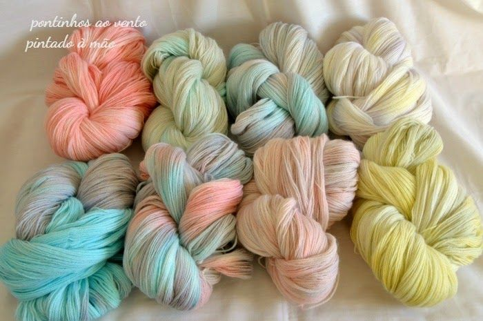 handpainted yarn 100% wool pontinhos ao vento: Pintado à mão