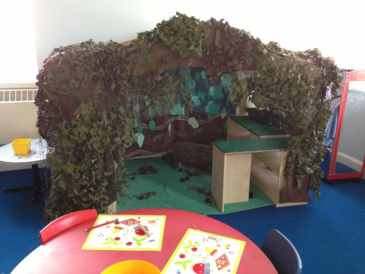 British Columbia Kindergarten Language Arts A1 Gruffalo's den role-play area.