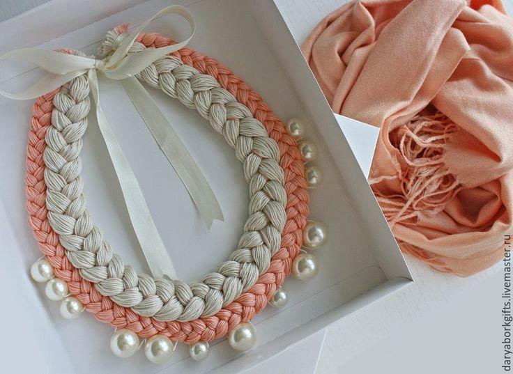 Купить Колье-коса White peach - колье, колье-коса, украшение на шею, кремовый, персиковый