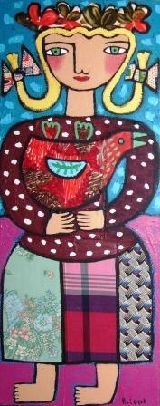 girl with red hen. Rebecca Cool