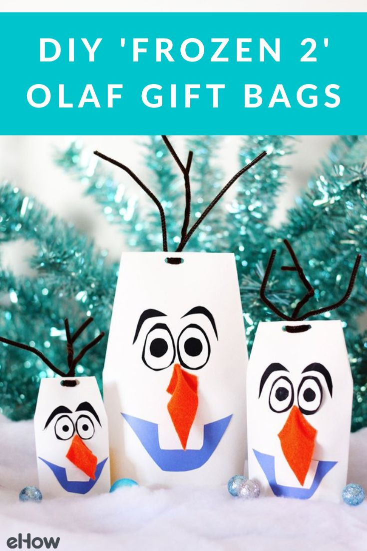 diy 'frozen 2' olaf gift bags  white wrapping paper