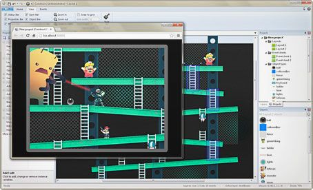 A 2D game generator called Construct 2.
