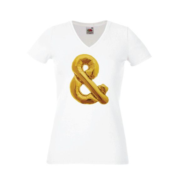 Dames   Lady-fit tshirt Ampersand gold (613780/820)