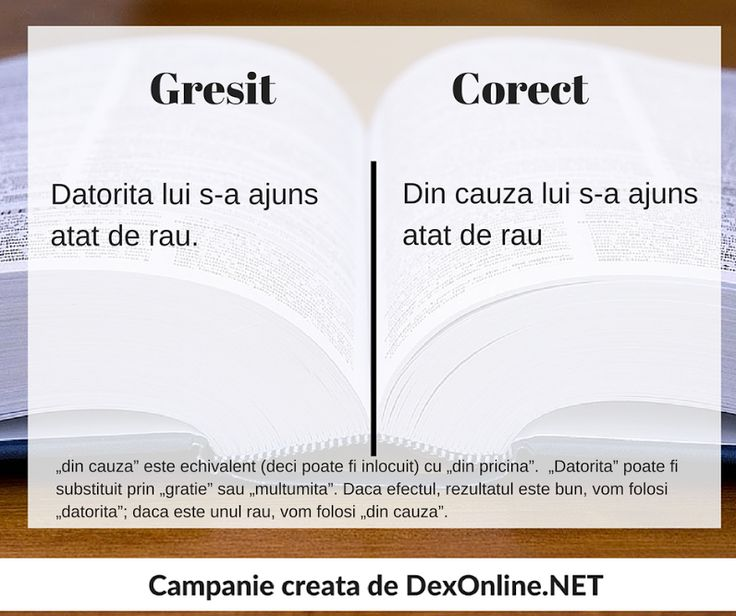 Salvam limba romana impreuna! #salveazalimbaromana #dex#gramatica dexonline.net/definitie-datorita