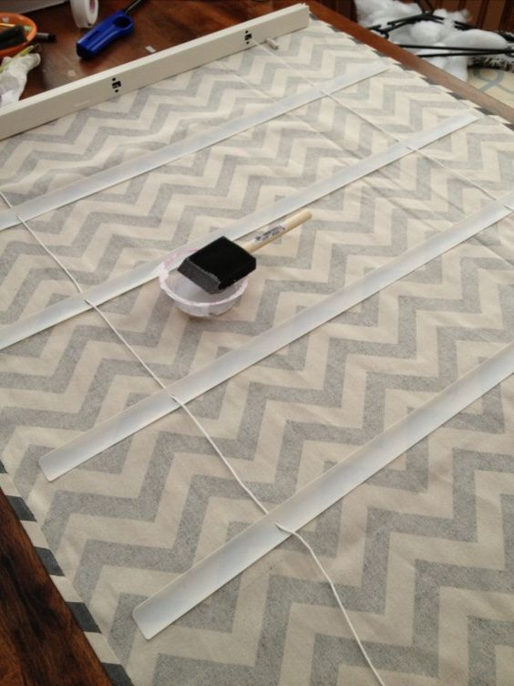 DIY Roman shade from canvas fabric & cheap blinds. Cool!