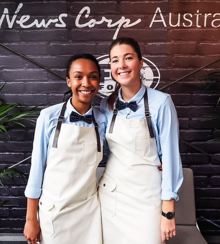 Waiter Style on-point!! The Big Group, Melbourne | Wearing Cargo Crew Otto Bib Apron, Smith Oxford Shirt & Pinspot Bowtie