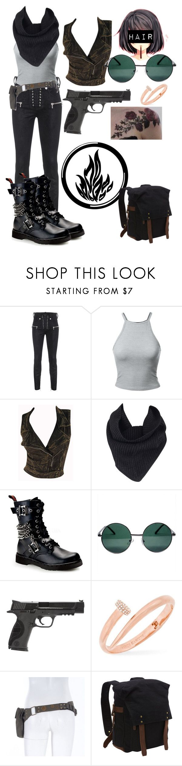 """Divergent hiding In Amity"" by lord-nightshade on Polyvore featuring Unravel, Switchblade Stiletto, A.L.C., Demonia, YHF, Smith & Wesson, Vince Camuto, Vagabond Traveler, black and divergent"