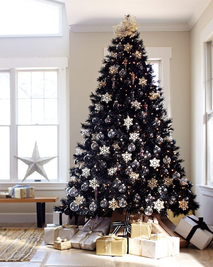 tuxedo black christmas tree not so basic black pinterest christmas black christmas trees and christmas tree decorations - Black And Silver Christmas Tree