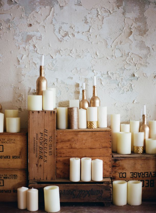 Gold dipped candles | SouthBound Bride www.southboundbride.com Credit: Mint Photography