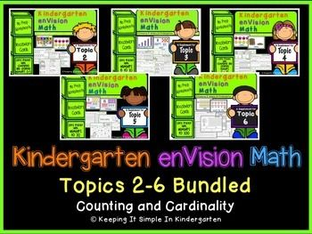 This bundle contains Topics 2-6 Kindergarten enVisionMath.These packets were created based on the first edition of enVision Math. Topics 1-6 are all about Counting and Cardinality.For each topic you will receive vocabulary cards with clear, bright pictures and worksheets to supplement the skills taught in Topics 2-6.The vocabulary cards can be used to introduce the concept and then posted on your math focus wall.The worksheets are at differing levels and will provide your students with…