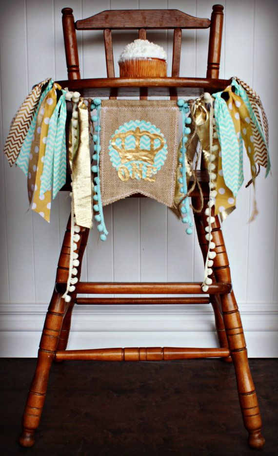 Little ROYAL PRINCE Birthday High Chair by RawEdgeSewingCo on Etsy