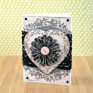 Midnight Blush Heart Card by Katy Godbeer - Papermania Midnight Blush Capsule Collection