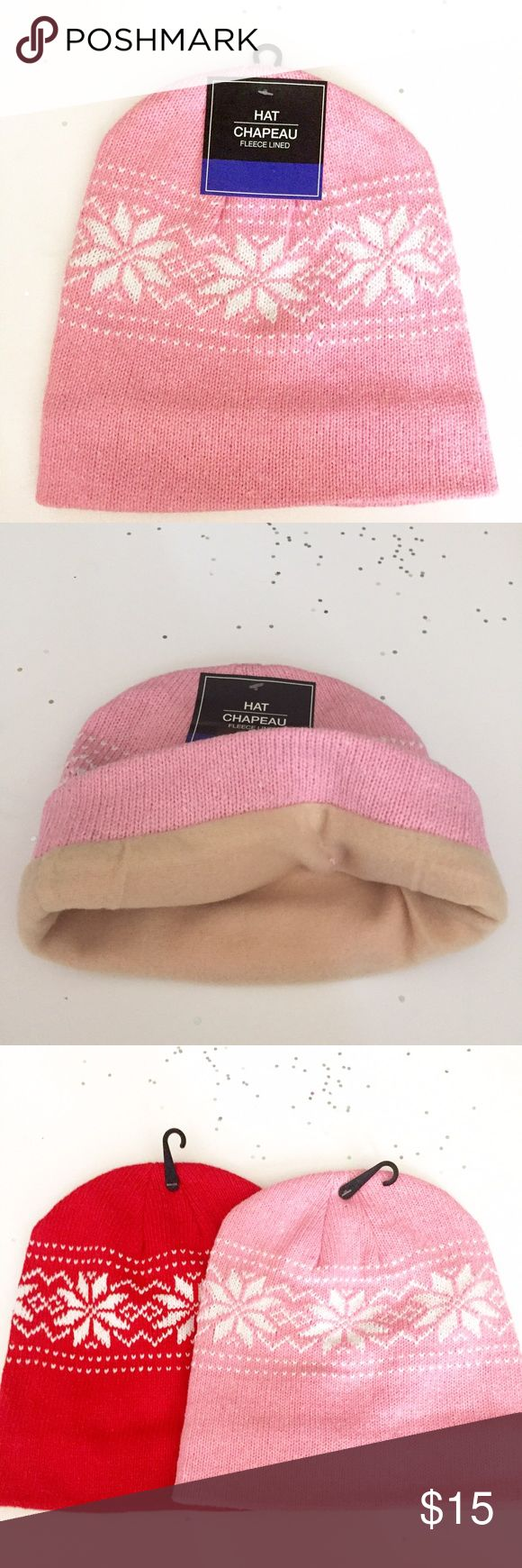 🌸SALE🌸Fleece Lined Snow Hat NWT 63% Polyester/ 33% cotton. Have in pink and red. Accessories Hats