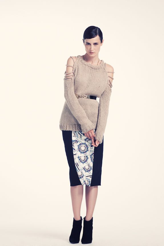 Gaudian mosaic pattern panelled pencil skirt with hand knitted braided shoulder detail visit www.asliguler.com to shop online