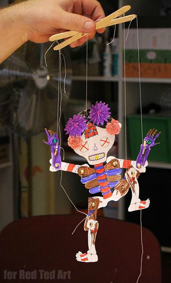 Day Of The Dead Paper Puppet Template Red Ted Art Make Crafting With Kids Easy Fun Halloween Crafts For Kids To Make Fun Crafts For Kids Paper Puppets