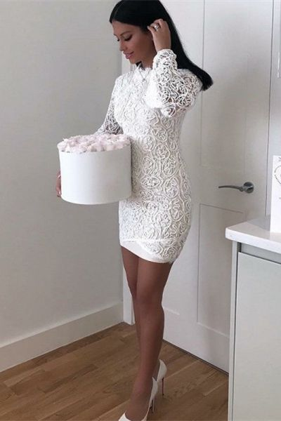 d0e385fb36 Sheath High Neck Long Sleeve White Lace Short Prom Dress in 2019 ...