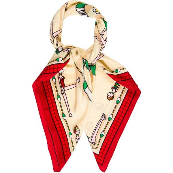 Pre-owned Moschino Multicolor Printed Scarf ($75) ❤ liked on Polyvore featuring accessories, scarves, neutrals, red shawl, red scarves, colorful scarves, colorful shawls and multi colored scarves