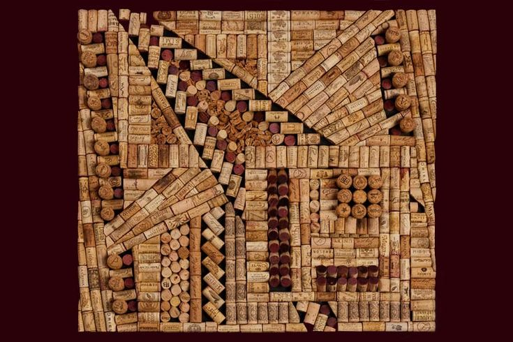 Antonio - Artist, Beki Morris, creates three dimensional wine cork art, using wine and champagne corks from all over the world