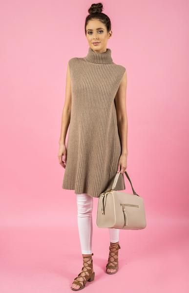 Sleeveless Open Back Knit Dress in Beige by Style State front