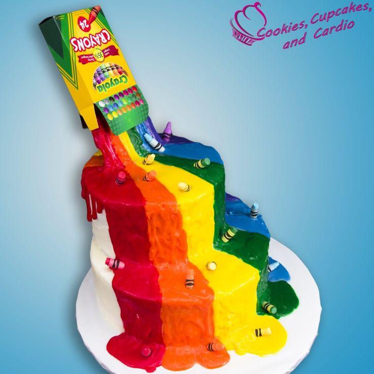 Crayon Waterfall Cake (Back to School) w/ Edible Crayons