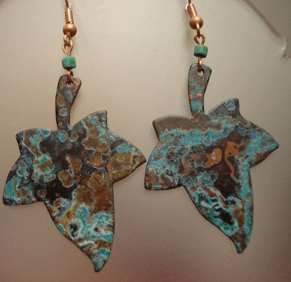 Leaf copper earrings - Patinated copper - Blue patina - Turquoise earrings