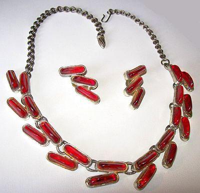 Vintage Red Hot Necklace Earring Set Lisner by BrightgemsTreasures, $34.50