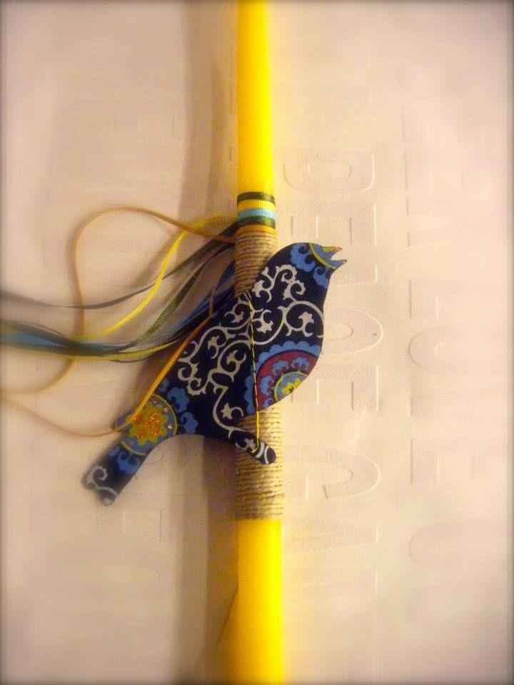 λαμπάδα - χάρτινα πουλάκια με σχέδια σε διάφορα χρώματα