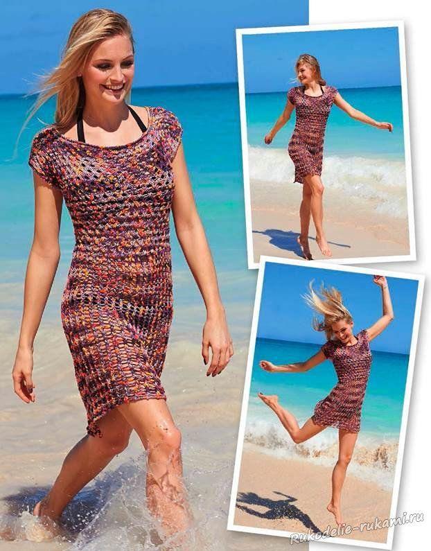 Мини-платье с ажурными узорами спицами