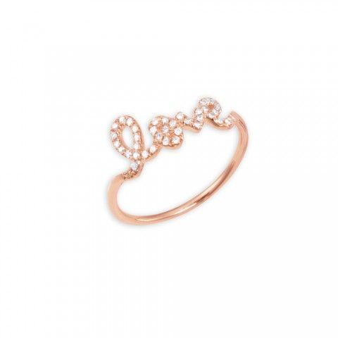 Rose-Gold & Diamond Love Ring