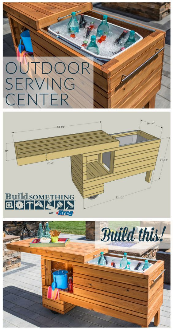 DIY Outdoor Serving Center | Free printable project plans at buildsomething.com | Take your outdoor entertaining up a notch with this rolling serving center. It holds a cooler plus offers shelf space for other items. The sliding top covers everything up when not in use, and it can still be used when open. Made from cedar, this project will serve you in style for years.