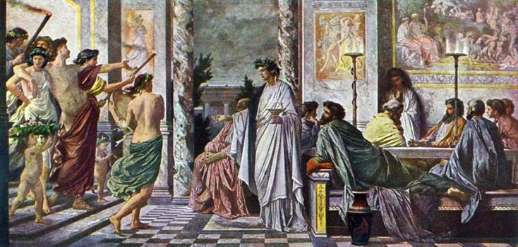 The painting by Anselm Feuerbach re-imagines a scene from Plato's Symposium, in which the tragedian Agathon welcomes the drunken Alcibiades into his home 1869. Agathon (ca. 448–400 BC) was an Athenian tragic poet whose works have been lost. He is best known for his appearance in Plato's Symposium, which describes the banquet given to celebrate his obtaining a prize for his first tragedy at the Lenaia in 416. He is also a prominent character in Aristophanes' comedy the Thesmophoriazusae.