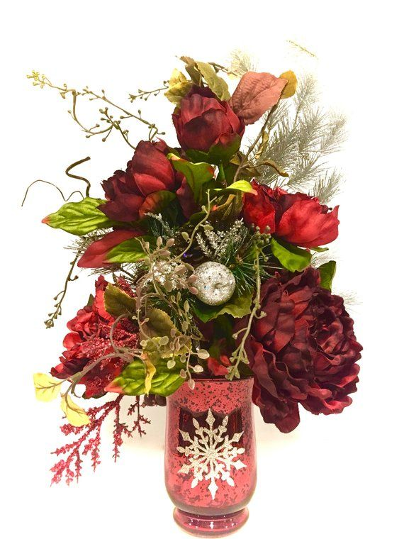 Tall Christmas Floral Arrangement Elegant Red Peony Holiday
