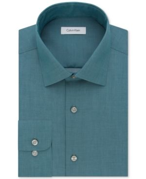 Calvin Klein Steel Men's Classic-Fit Non-Iron Performance Solid Dress Shirt - Blue 15.5 32/33