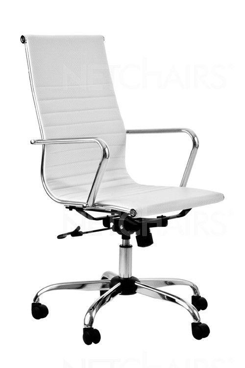 Cadeira Escritório Presidente Crome Branca Giratória com Rodinhas, Reclinável, Função Relax e Regulagem de Altura a Gás, Similar Charles Eames - 8648