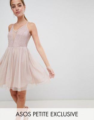58f353d4c78f DESIGN Petite sleeveless dobby lace mix mini dress | Photo Style Ideas |  Dresses, Pink dress, ASOS