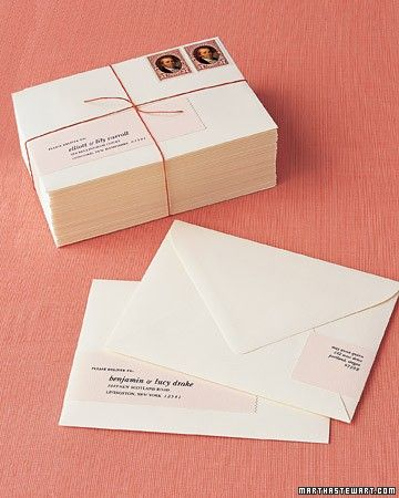 One sure way to address envelopes for success? Create sleek, wrap-around labels. If calligraphy is too costly or your penmanship isn't perfect, this is a handsome, appropriate option that's easy to do.Print the Wrap Around Address Labels