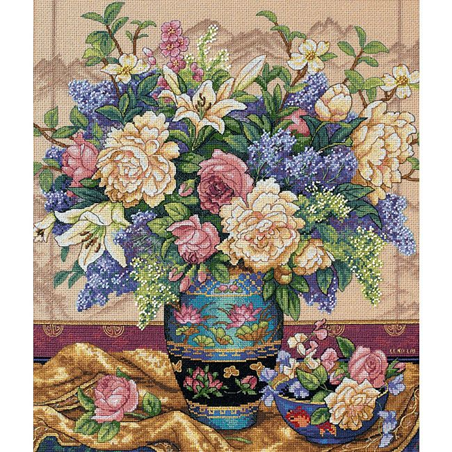 <li>Cross-stitch kit features beautiful 'Oriental Splendor'<li>Counted cross stitch kit includes Aida cloth, thread sorter, embroidery thread, metallic thread, needle and instructions<li>Needlework project is 14 inches high x 12 inches wide