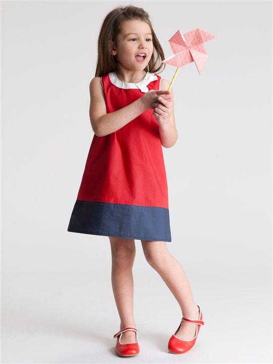 Schickes Kleid mit Schleife für Mädchen MARINE/HELLBLAU+ROT/MARINE