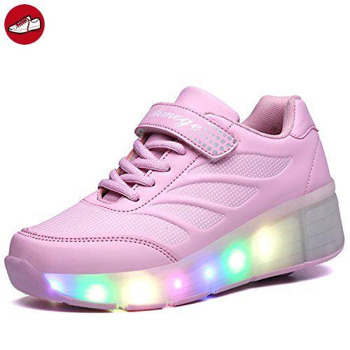 SGoodshoes Erwachsene Kinder Schuhe Mit Rollen Junge Led Schuhe Sneaker Mit Rollen Mädchen Sport Turnschuhe 7 Farbe Farbwechsel, Pink, 41EU/Fuß-Länge 26cm (*Partner-Link)