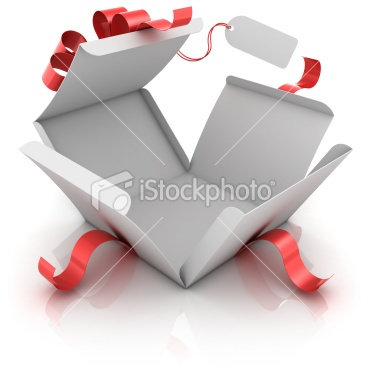 Open gift box with blank label Royalty Free Stock Photo