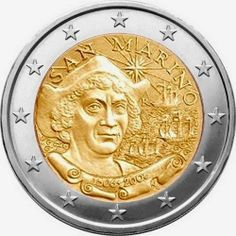 N♡T.2 euro: 500th Anniversary of the Death of Christopher Columbus.Country: San Marino Mintage year: 2006 Issue date: 17.10.2006 Face value: 2 euro Diameter: 25.75 mm Weight: 8.50 g Alloy: Bimetal: CuNi, nordic gold Quality: Proof, BU, UNC Mintage: 120,000 pc